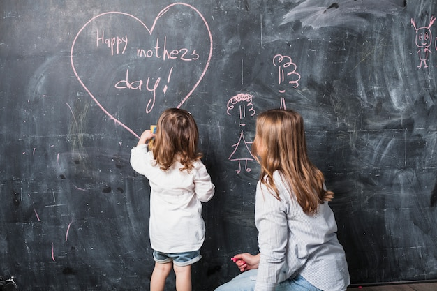 Mother and daughter writing happy mothers day on chalkboard