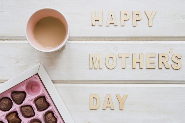 Mother day composition with coffee