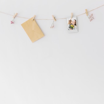 Mother day concept with clothesline