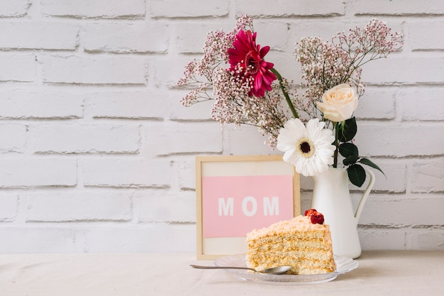 Mother day concept with frame and cake
