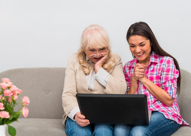 Mother and her young daughter sitting together on sofa looking at laptop
