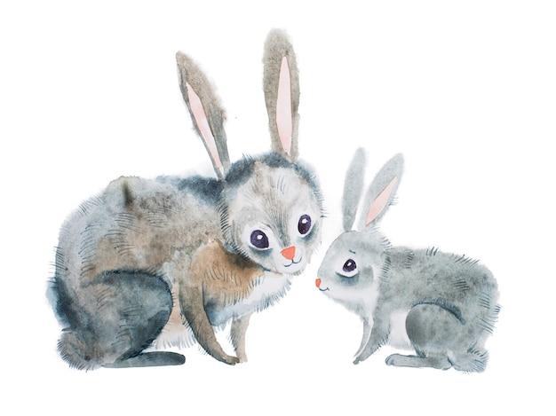 アクワレル技法で手描きの母ウサギと赤ちゃん