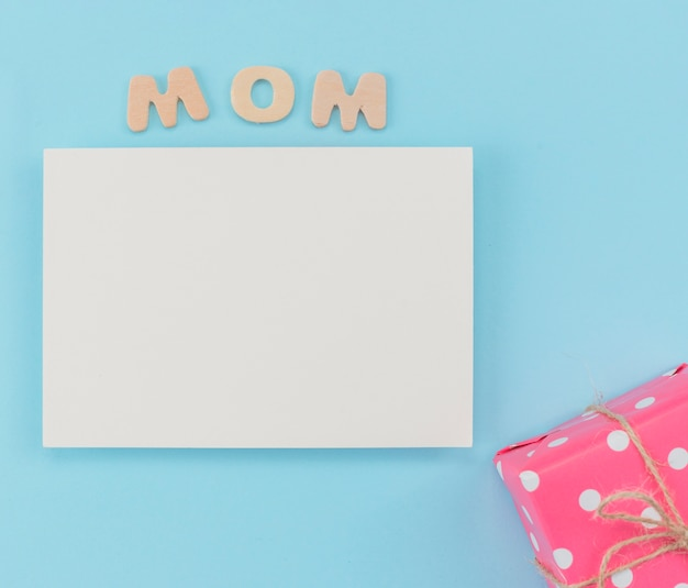 Mother`s day blank paper with gift box