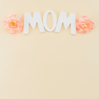 Mother`s day frame with peonies