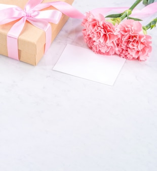 Mother's day handmade giftbox idea concept with pink carnation