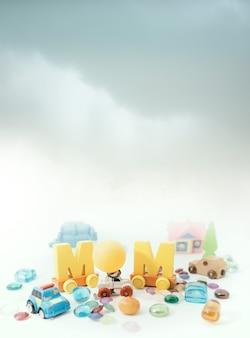 色とりどりのパズルのピースの母の日のメッセージ。幸せな母の日のコンセプトの背景。