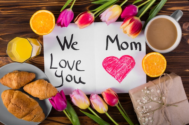 Mother`s day postcard and breakfast