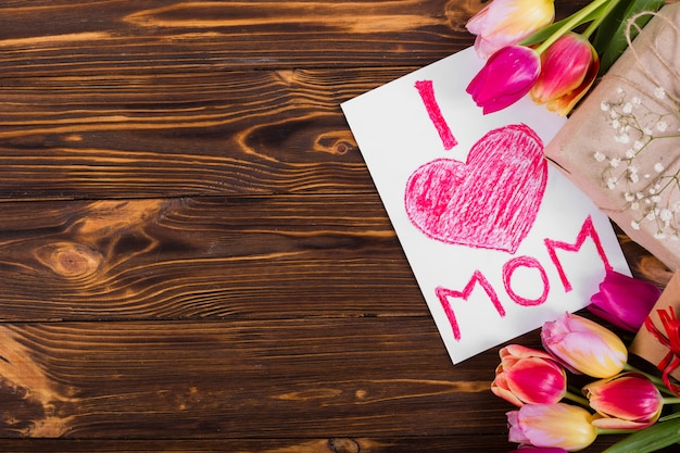 Mother`s day postcard and flowers