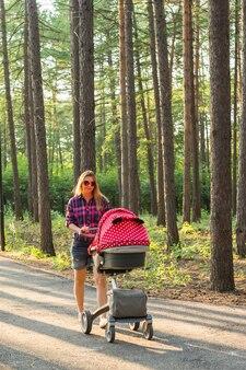 公園でベビーカーを押しながら歩いているお母さん。