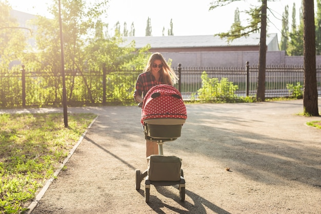 Mother walking while pushing a stroller in the park.