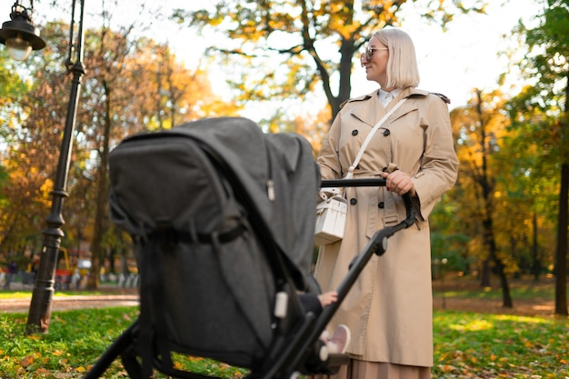 秋の公園を歩いている乳母車を持つ母