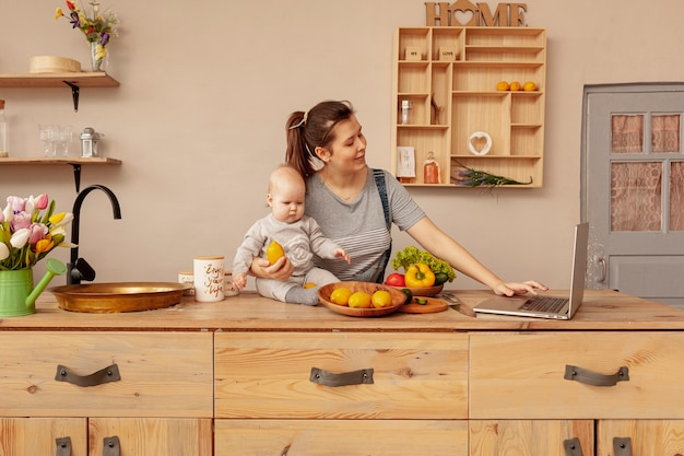Mother with baby at home