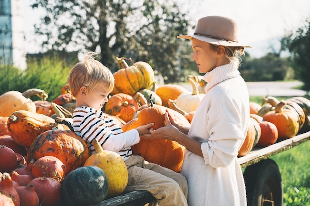 Мать с детьми выбирают тыкву на фермерском рынке