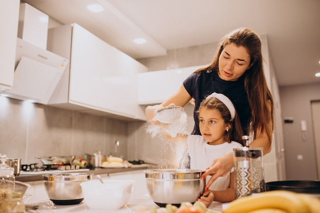 Mother with daughter baking at kitchen together