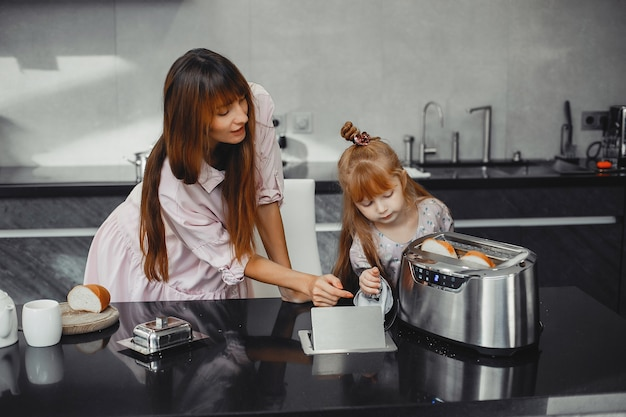 Mother with daughter in a kitchen