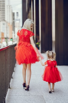 Mother with daughter outdoors in city