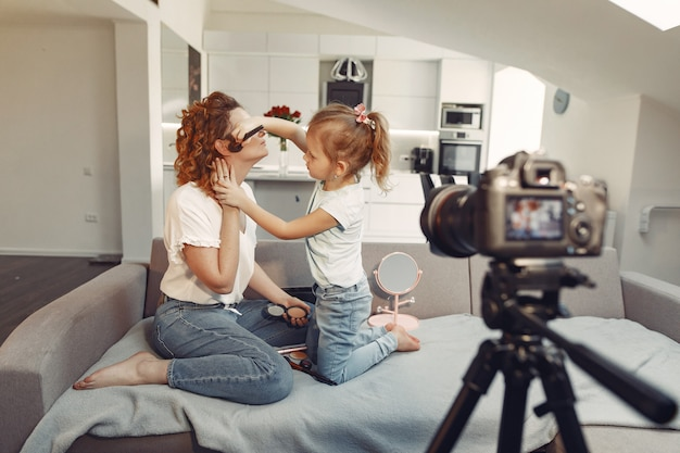 Mother with daughter shoots a beauty blog