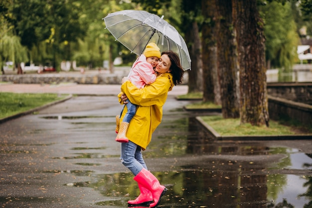 Mother with daughter walking in park in the rain wearing rubber boots