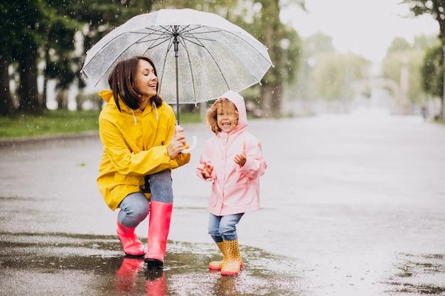 Madre con la figlia che cammina sotto la pioggia sotto l'ombrello