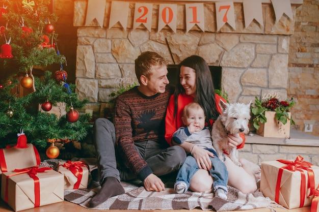 크리스마스에 팔에 그녀의 아기와 그녀의 강아지와 어머니