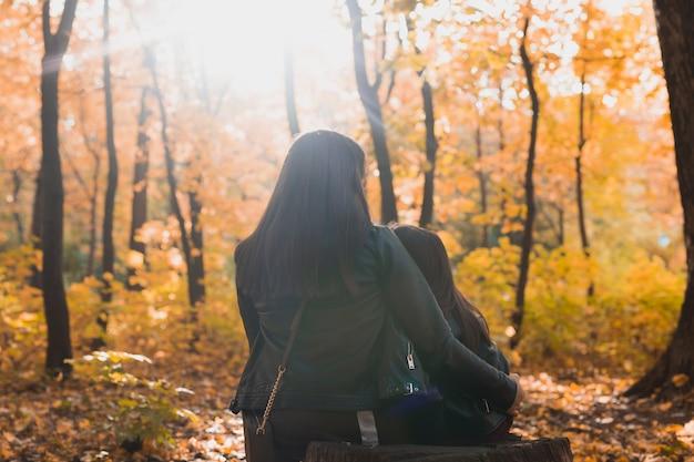 秋の公園のひとり親と季節の概念の切り株に座っている娘と母