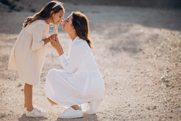 Mother with her daughter together having fun