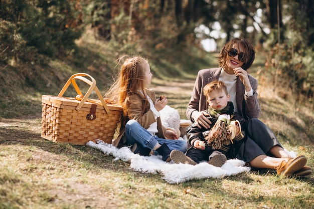 Mother with kids having picnic in the forest