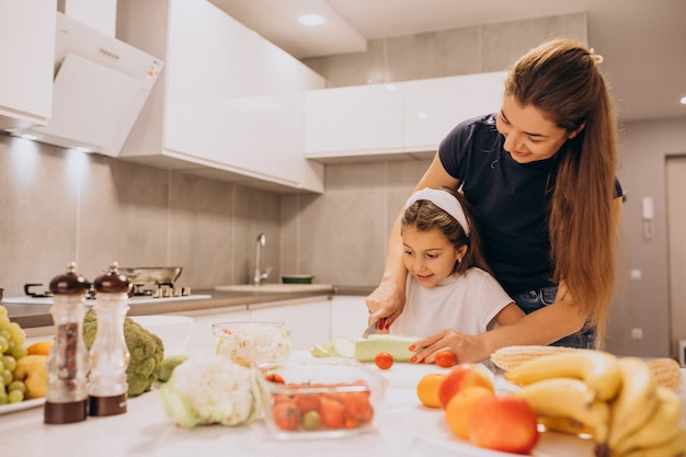 Mother with little daughter cooking together at kitchen