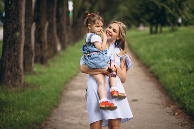Mother with little daughter in park