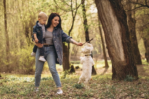 Mother with son and dog