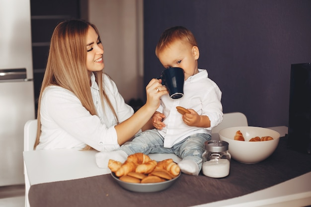 Mother with son at home