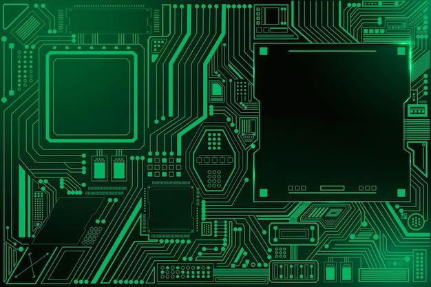 Sfondo della tecnologia del circuito della scheda madre in verde sfumato