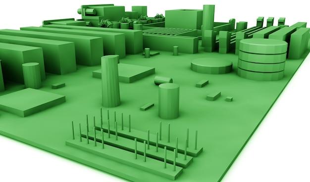 Материнская плата на зеленом фоне. 3d визуализация