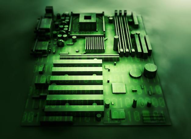 Материнская плата на фоне зеленого двоичного кода. 3d визуализация