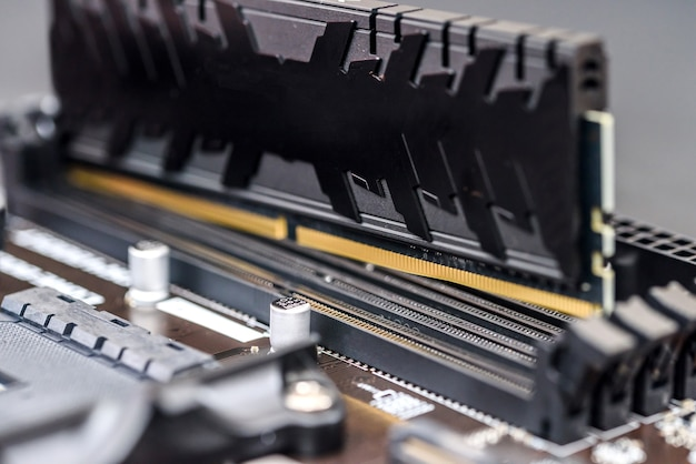 Motherboard of pc with ddr plank close up