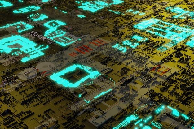네온 발광 요소가 있는 마더보드 시스템 칩은 미래의 회로 기판 배경입니다.