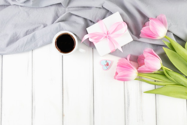 Mothers day background with coffee and gift box