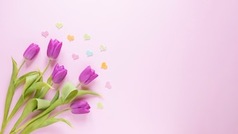 Mothers day background with roses on left