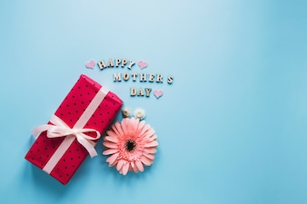 Mothers day composition with flower and red present box