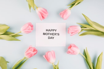 Mothers day composition with greeting card