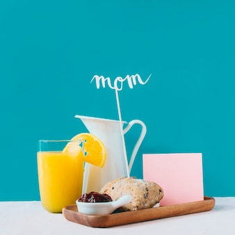 Mothers day concept with breakfast