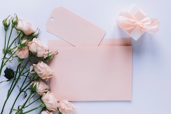 Mothers day concept with card and flowers