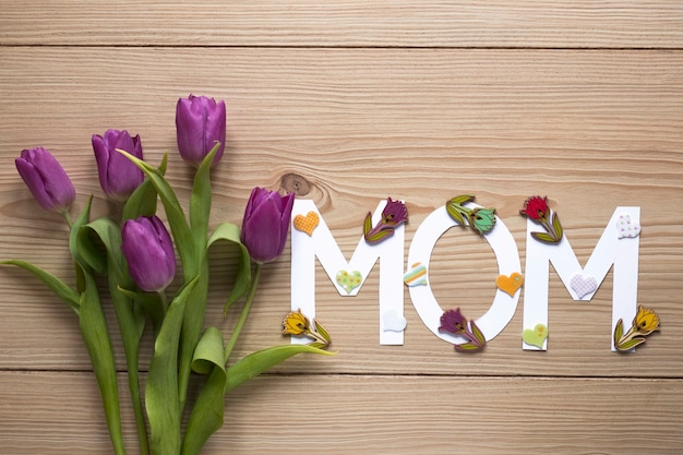 Mothers day concept with letters and roses