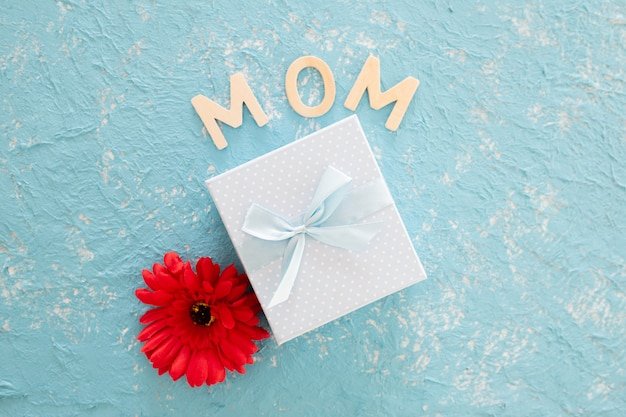 Mothers day gift with redo flower on blue light background