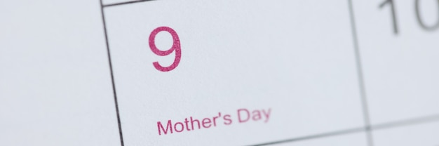 Mothers day is marked on calendar celebrating international moms day concept
