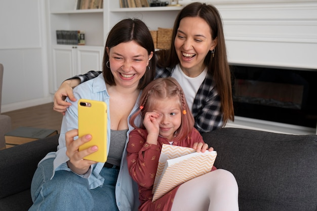 Mothers spending time together with their daughter at home