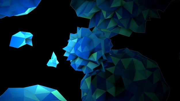 宇宙、黒い背景のモーション抽象的な青い液体オーブ。モダンでコスモステンプレートのエレガントで豪華な3dイラストスタイル