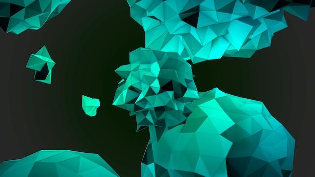 宇宙、黒い背景の動きの抽象的な緑の液体の球。モダンでコスモステンプレートのエレガントで豪華な3dイラストスタイル