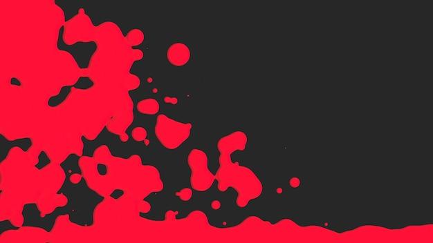 モーション抽象的な赤い液体スポット、黒いスプラッシュ背景。モダンで流行に敏感なテンプレートのエレガントで豪華な3dイラストスタイル