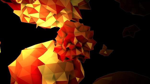 宇宙、黒い背景の動きの抽象的な黄色の液体の球。モダンでコスモステンプレートのエレガントで豪華な3dイラストスタイル